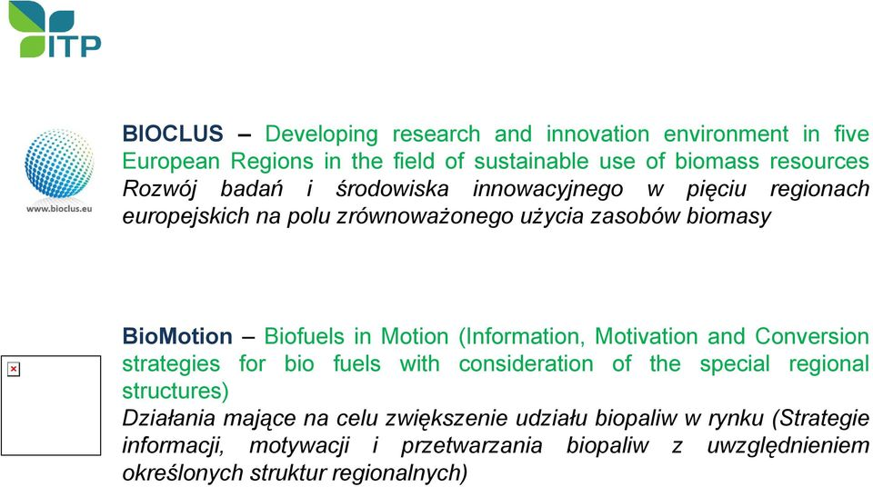 (Information, Motivation and Conversion strategies for bio fuels with consideration of the special regional structures) Działania mające na