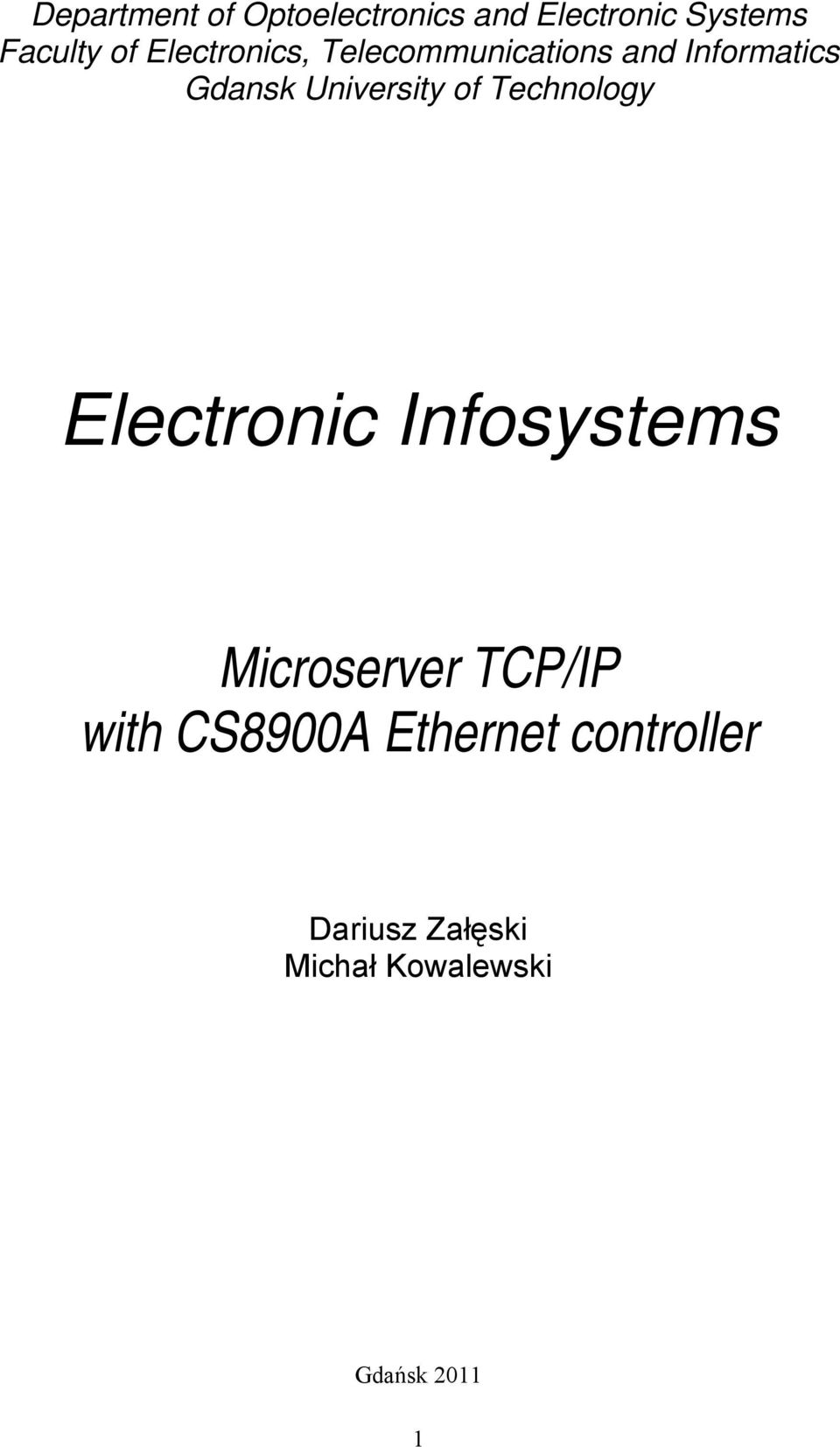of Technology Electronic Infosystems Microserver TCP/IP with
