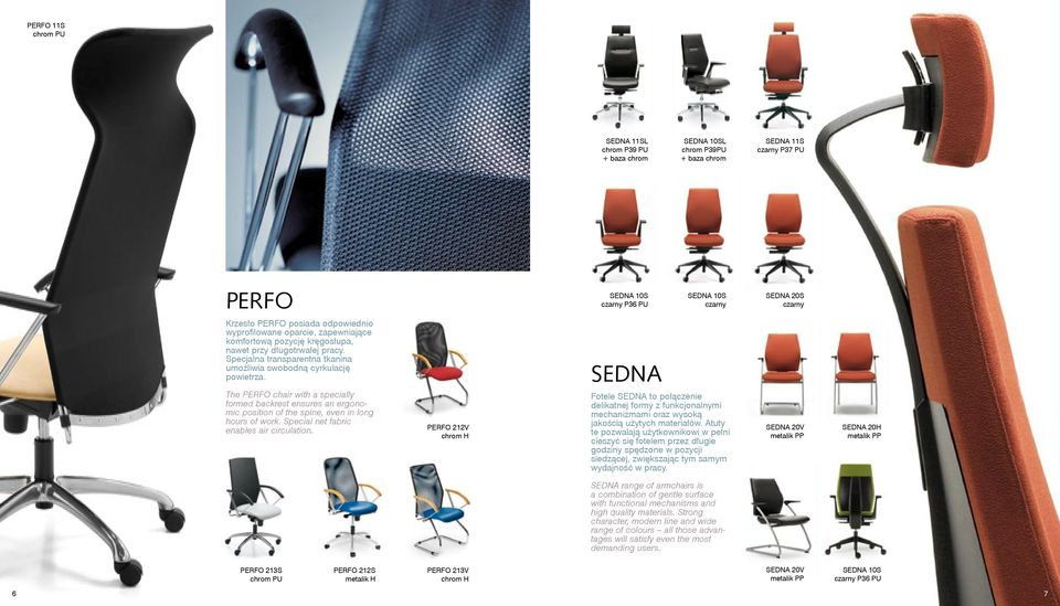 SEDNA The PERFO chair with a specially formed backrest ensures an ergonomic position of the spine, even in long hours of work. Special net fabric enables air circulation.
