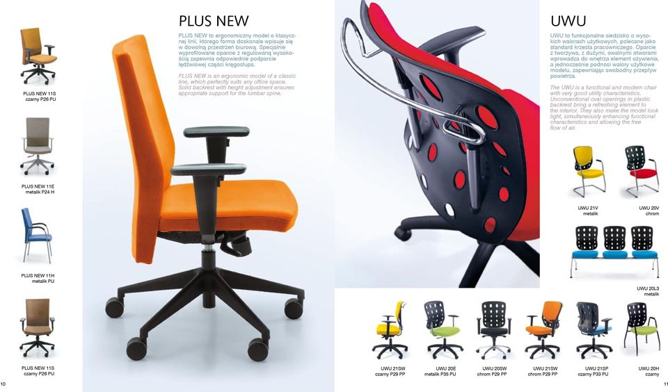 PLUS NEW is an ergonomic model of a classic line, which perfectly suits any office space. Solid backrest with height adjustment ensures appropriate support for the lumbar spine.