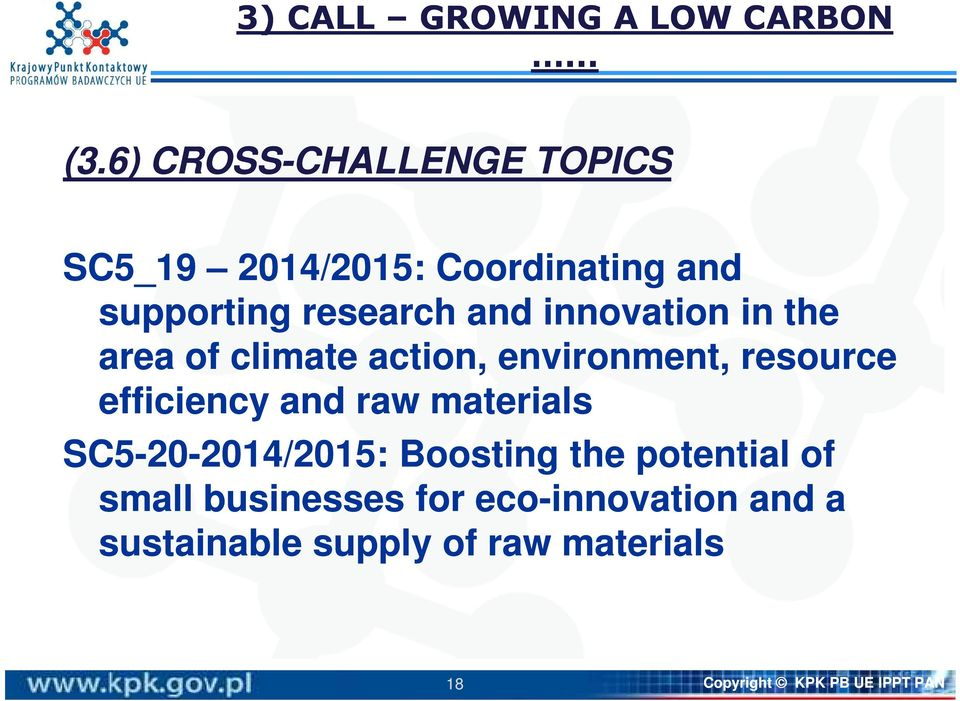 innovation in the area of climate action, environment, resource efficiency and raw materials