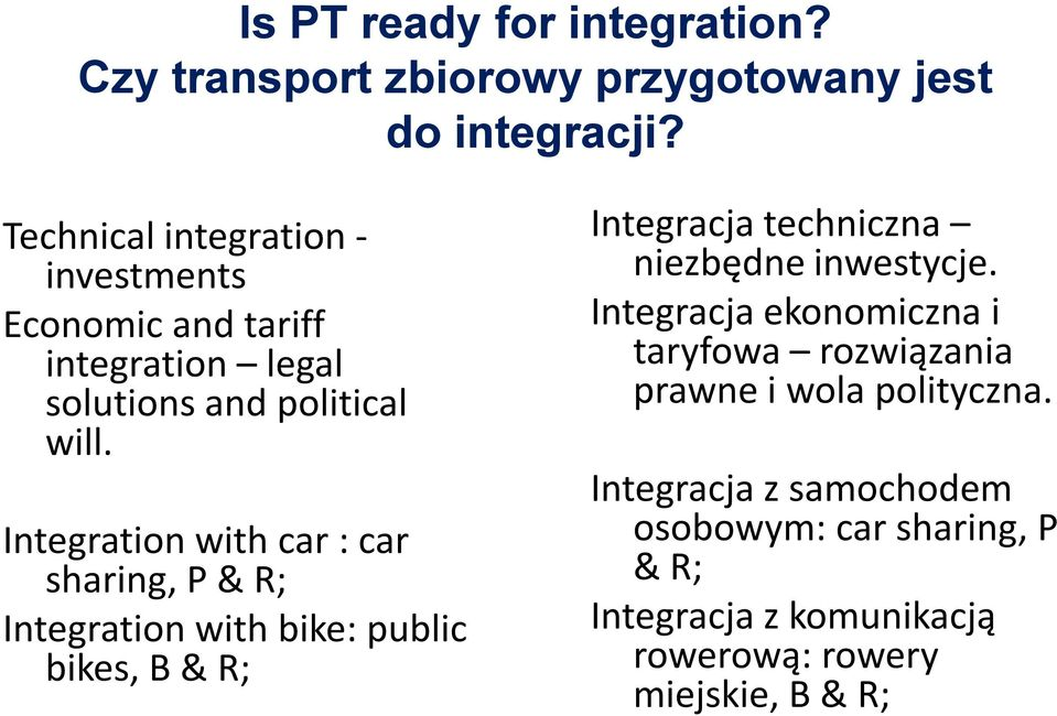 Integration with car : car sharing, P & R; Integration with bike: public bikes, B & R; Integracja techniczna niezbędne
