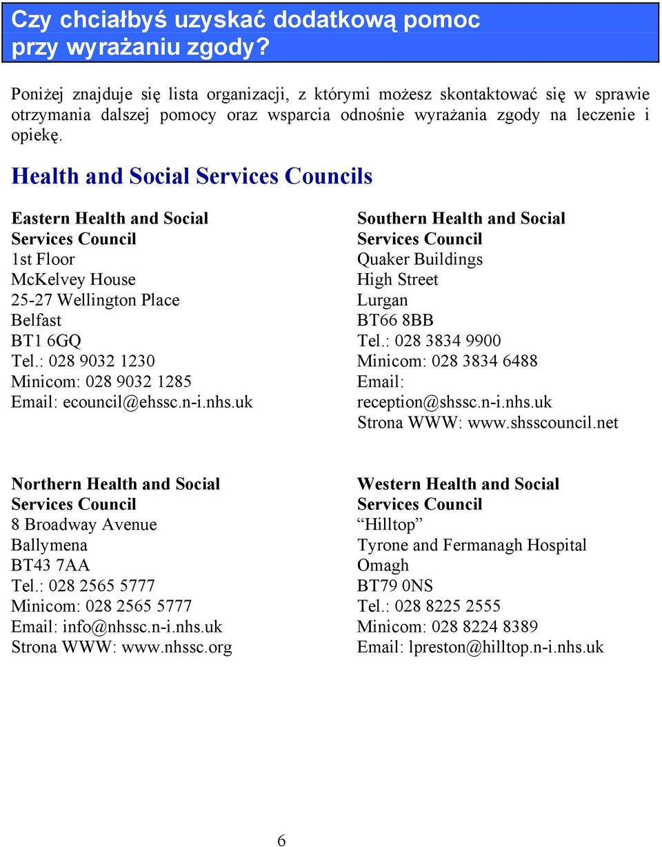 Health and Social Services Councils Eastern Health and Social Services Council 1st Floor McKelvey House 25-27 Wellington Place Belfast BT1 6GQ Tel.
