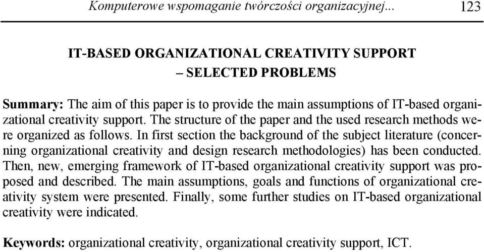 The structure of the paper and the used research methods were organized as follows.