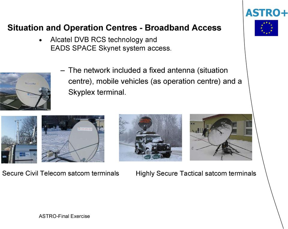 The network included a fixed antenna (situation centre), mobile vehicles (as