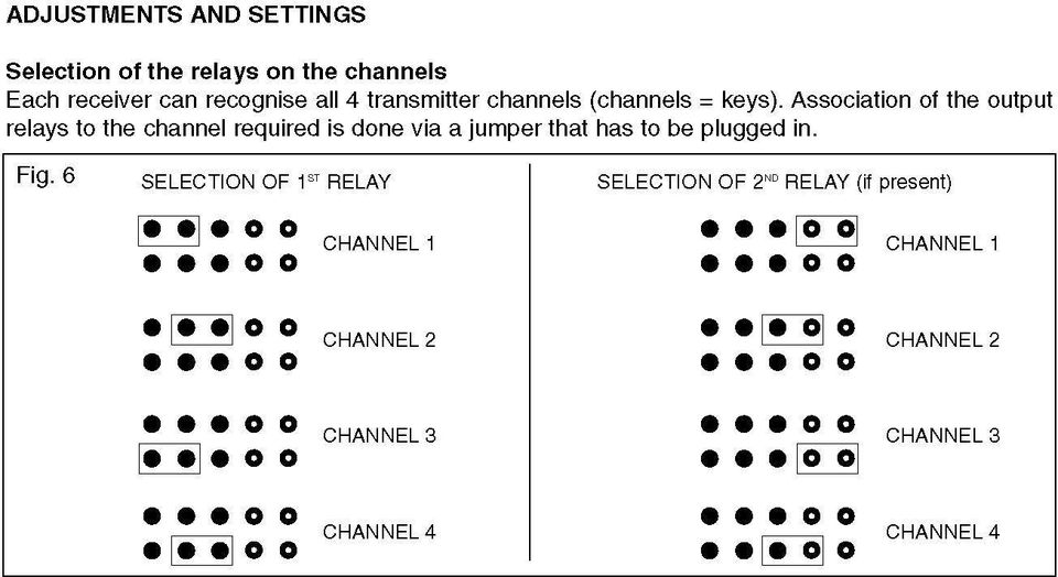 Association of the output relays to the channel reguired is done via a jumper that has to be plugged in. Fig.
