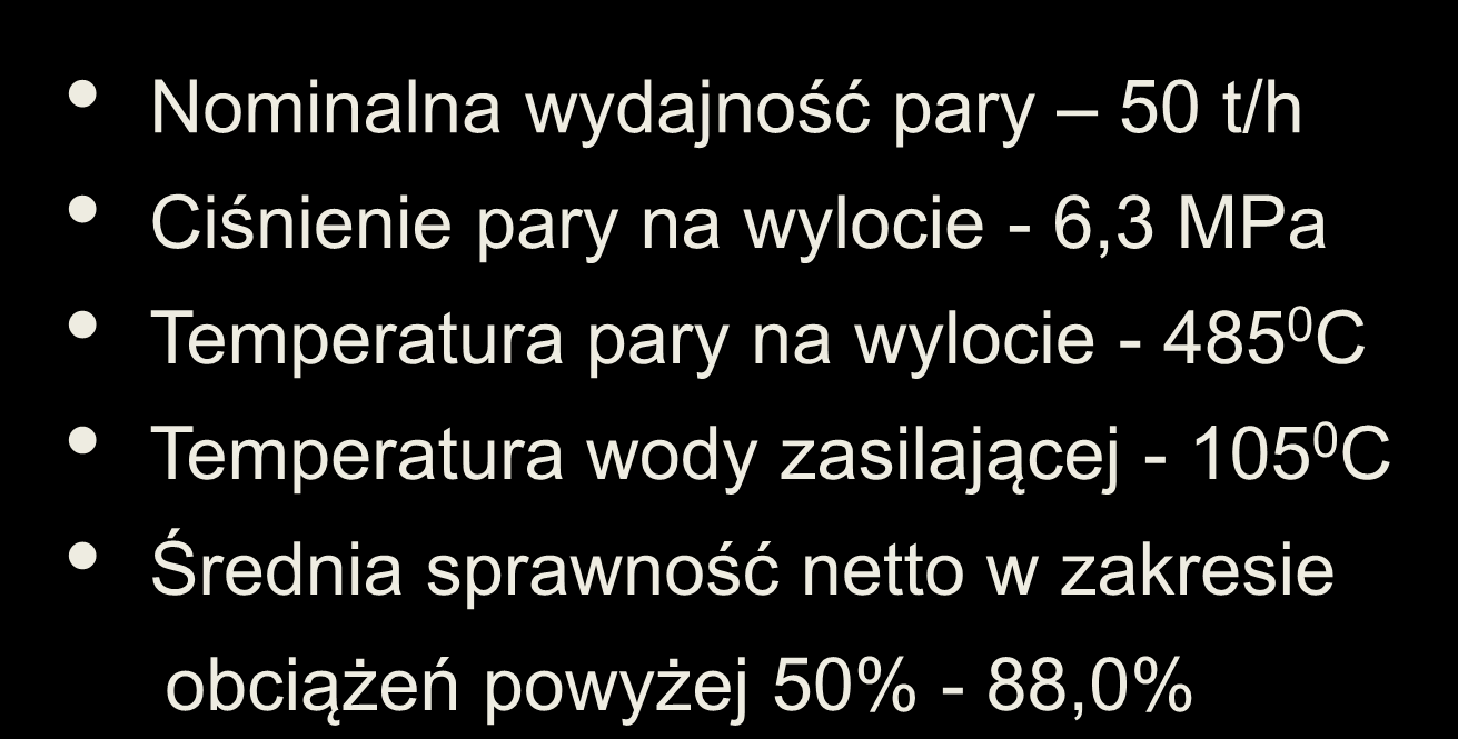 Podstawowe parametry kocioł OR50N Producent Energoinstal S.A.
