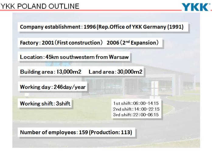 92 Yuji Noguchi As for YKK Poland, the first operation started as a representative office of YKK Germany in 1991.