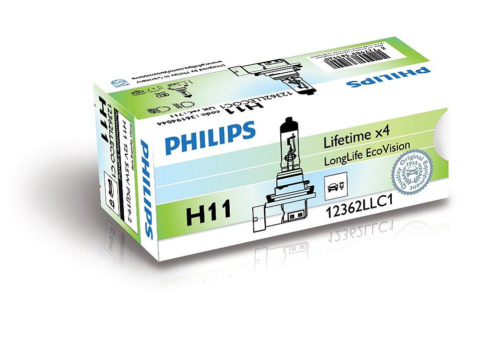 2017-07-19 PHILIPS H11 12V 55W PGJ19-2 LongLife EcoVision Halogenowe żarówki h21 LongLife EcoVision marki Philips.