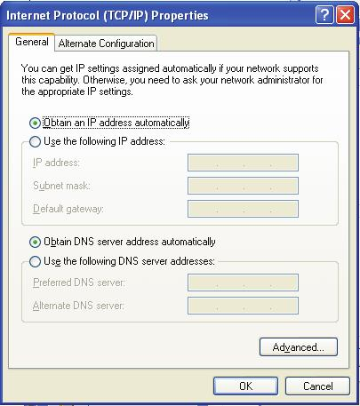 3. Wybierz Obtain an IP address automatically i Obtain DNS