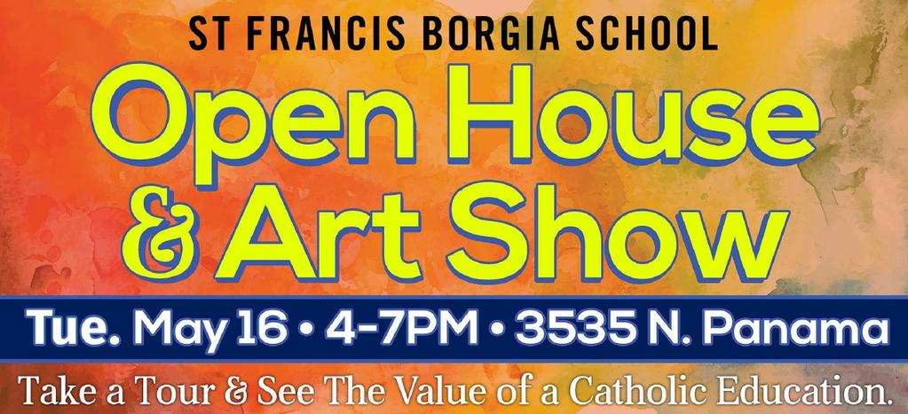 SFB School Registration Open registration for St. Francis Borgia School for the 2017-2018 school year is ongoing.