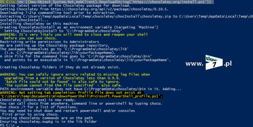 "4 (Pobrane z slow7.pl) @powershell -NoProfile -ExecutionPolicy Bypass -Command ""iex ((New-Object System.Net.WebClient).DownloadString('https://chocolatey.org/install."