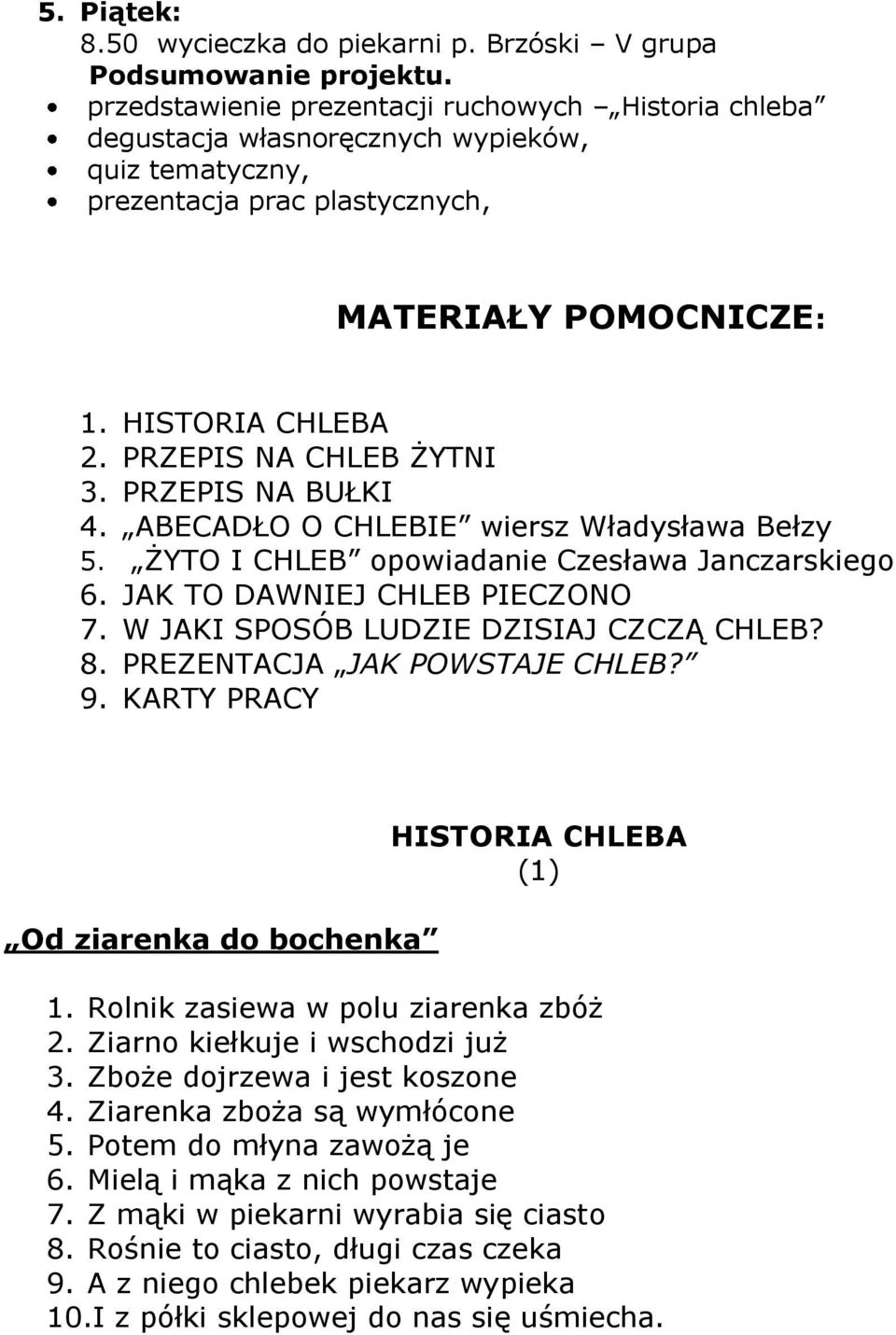 Projekt Edukacyjny Pn Od Ziarna Do Chleba Pdf Free Download