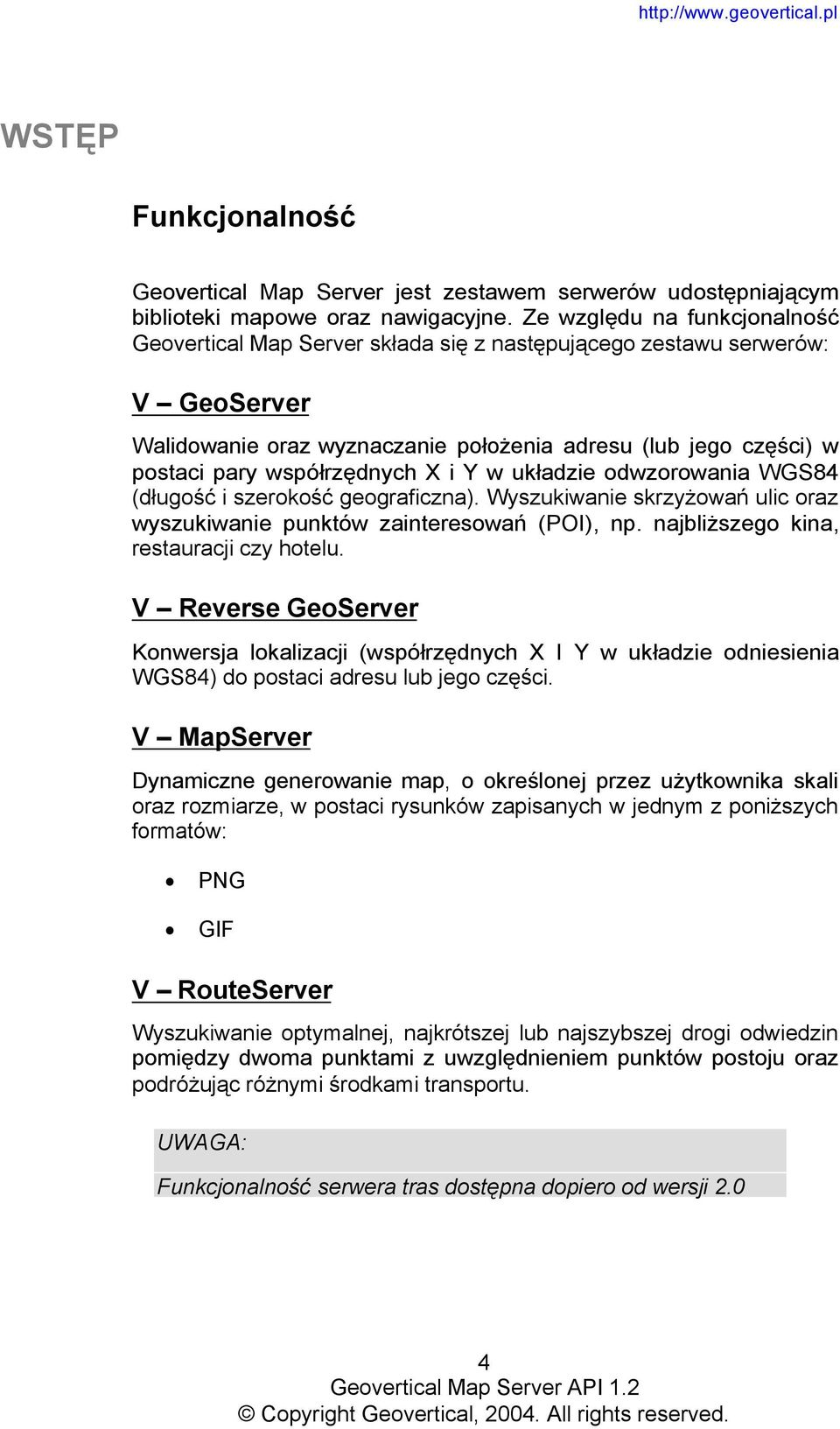 Geovertical Map Server API PDF