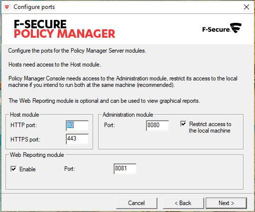 F-Secure Policy Manager Server.