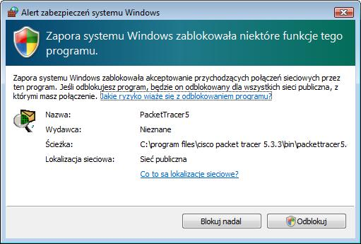 Packet Tracer uruchamia się.